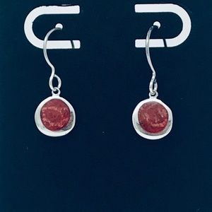 Red Coral Sterling Silver 925 Earrings